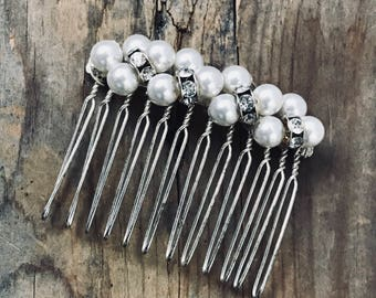 Hair Comb With Rhinestones and Pearls Hair Accessories Vintage Style Holiday Weddings New Years Party Silver Comb Bridal