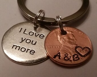 I Love You More, Custom Lucky Penny Keychain Gift, Couple Gift, Boyfriend Gift, Girlfriend gift, Anniversary, Key chain, Personalized