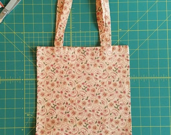 Dusty Rose Print Fat Quarter Tote Bag, Fabric Gift Bag, Small Cotton Tote