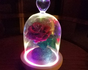 Handmade Crepe Paper Rose Beauty and the Beast Inspired/Colorful FlashLED Glass Cloche/Cake Topper Enchanted Metallic Rose/Valentines Day