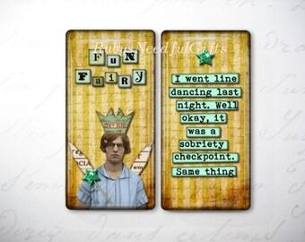 Glass Tile Magnets,  Fridge Magnets, Funny Fairy Magnets,  Best friends gift, Hostess Gift, SET OF 2.