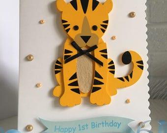 1st Birthday Tiger card