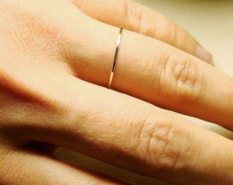 Petite Platinum Stack Ring- Tiny Platinum Halo Hammered Stack Ring - Delicate Jewelry