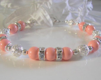 Swarovski Pink Coral and Rhinestone Bracelet, Wedding Jewelry for Bridesmaid  Mother of the Bride/Groom  Flower Girl Wedding Bracelet