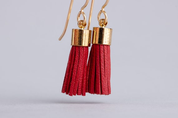 Red Leather Tassel Earrings - Bright Red Synthetic Leather Tassel Earrings in 14K Gold Fill - Long Gold and Red Earrings - Tassel Earrings