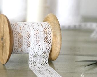 "2"" White Lace Trim/Ribbon - Wedding/Decor/Favors/Boho/Dreamcatcher"