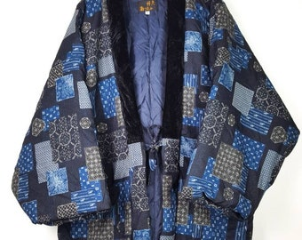 Vintage KIMONO Oversize Japanese Traditional with look Like Patchwork Design