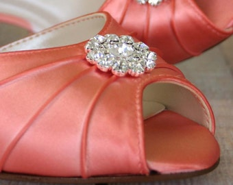 Coral Wedding Shoes --Coral D'Orsay Style Peeptoe Custom Wedding Shoes with Simple Rhinestone Adornment