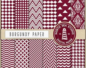 Burgundy Digital Paper Pack | Scrapbook Paper | Printable Backgrounds | 12 JPG, 300dpi Files | BUY5FOR8
