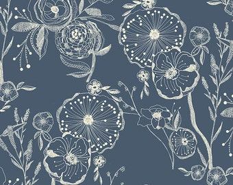 Millie Fleur - Line Drawings Bluing by Bari J. for Art Gallery Fabrics, 1/2 yard, MFL-21354