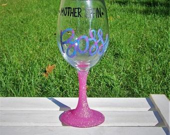 Wine Glass, Girl Boss, Boss Gifts, Glitter Wine Glass, Hand painted wine glass, Glitter Tumbler, Boss Lady, Glitter Glasses,