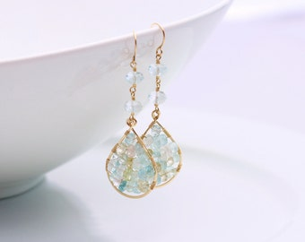 Aquamarine Earrings, Morganite, 14k Gold Filled, Tear Drop, March Birthstone, White Blue Pink Yellow Gemstone, Mosaic Earrings - Danielle