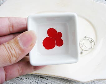 Red Flower Ring Dish, Floral Ring Holder, Jewelry Dish Organizer, Bridesmaid Gifts