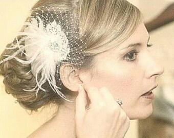 Bridal Fascinator, Wedding Fascinator, French Netting, Bridal Comb, Wedding Hair Clip, Bridal Gift, Bridesmaids Gift, Kathyjohnson3, Ivory