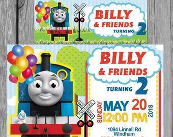 thomas the train invitation birthday invitation  heavy cardstock or digital