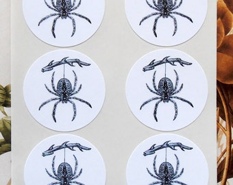 Halloween Spider Stickers - Spider Goth Party Favor Treat Bag Stickers SH016