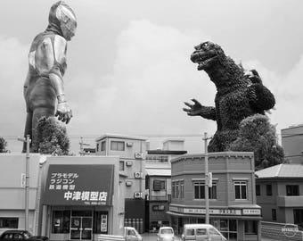 "10""x8"" Print of MyKaiju Toy Photography Godzilla vs Ultraman"