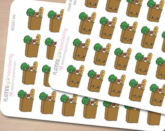 Grocery Bag | Grocery Reminder Planner Stickers Perfect for Erin Condren, Kikki K, Filofax and all other Planners