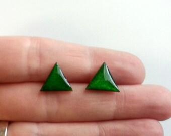 GREEN triangle earrings, Wood Triangle Earring Studs, Wood Earrings, Wood Studs, Triangle wood Studs