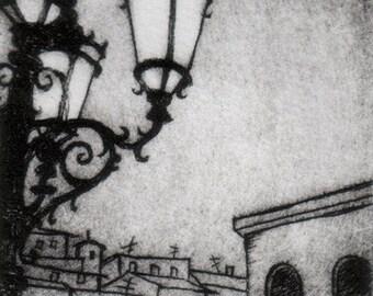 At the Palazzo Pitti - Intaglio print