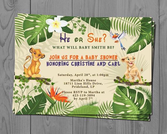 Nala and Simba Gender Reveal Invite, Lion King Baby Shower Invitation, Jungle Baby Invitation, Baby Disney, Safari Theme, He or She