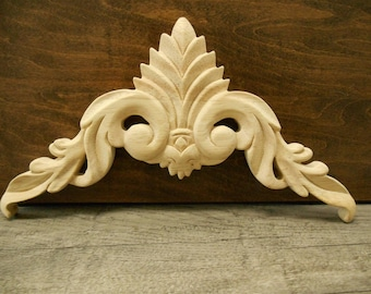 """Carved Wood Onlay -Wood Applique-  10-3/4""""W 8 x 6  1/8"""" H x 1/2"""" D -Hand Carved Wood Applique- ref-09s"""