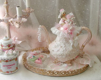 Vintage Teapot, vintage bridal lace, pink fairy, floral garland, Ormolu tray with mirror, Crystal candy dish, faux candies, silk Roses