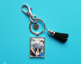 Dog Dad Keychain, unique gift for Father's Day for men with fur babies! Miniature art print pendant of Man with beard and Border Collie.