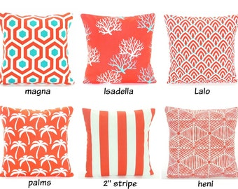 Red Aqua OUTDOOR Throw Pillows Nautical Pillow Covers Red/Coral Aqua Beach Pillow Cushion All SIZES Coastal Couch Pillow Patio Deck Decor