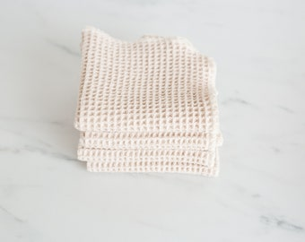 NEW!  100% Organic Natural Waffle Weave Cotton Washcloth, Dish Cloth, Set of 2, Available in Three Sizes