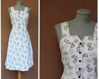 1970's Vintage Hannoh Cotton Dress – 70's Hawaiian Dress Style - Size S/M