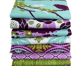 Joel Dewberry Aviary HALF YARD Bundle, Cotton Quilt Fabric, Woodland Fabric Bundle, Lilac Purple Fabric, Bird Fabric, 8 Pcs 4 Yards Total