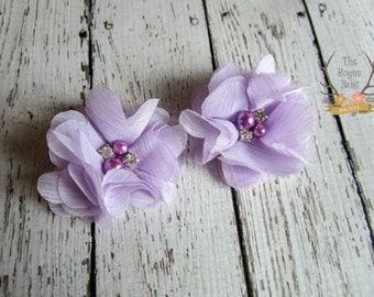 Lavender  Shoe Clips - Lilac Shoe Clips - Flower Shoe Clips Wedding Bride Bridesmaid Flower Girl Pearl Rhinestone Bridal Light Purple