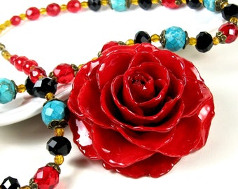 Large Real Rose Necklace - Red, Turquoise Necklace, Flower Necklace, Real Flower Jewelry, Nature Jewelry, Statement Necklace, Colorful