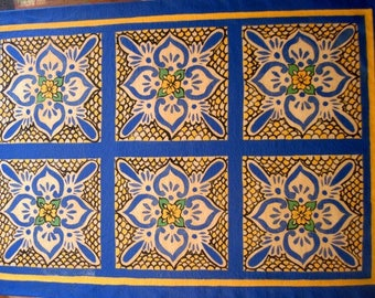 Large Tile Mexican tile design Blue, Yellow
