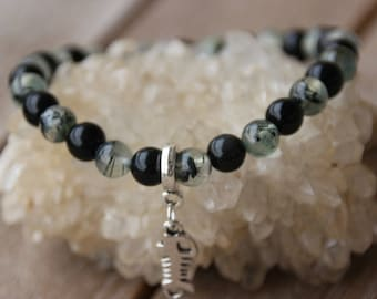 Obsidian and prehnite 6 mm bracelet