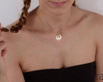 Lotus necklace, Yoga Jewelry, Flower Design, Symbolic Gift, Gold Lotus Necklace, Zen Necklace, Floral Neclace, Blooming Flower