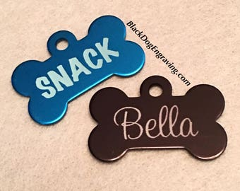 Laser Engraved Small Dog Bone Tag - Small Personalized Dog Tag - Engraved Dog Tag for Small Dogs