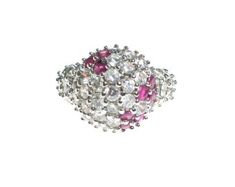 Vintage Ruby and CZ Dome Ring 18kt Gold Over Sterling Silver
