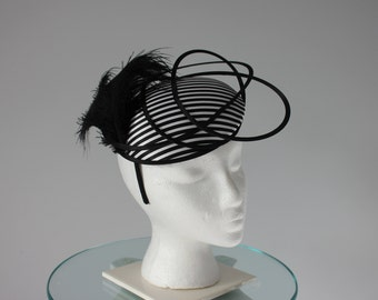 "Black and White Kentucky Derby Fascinator - ""Striped and Sassy"""