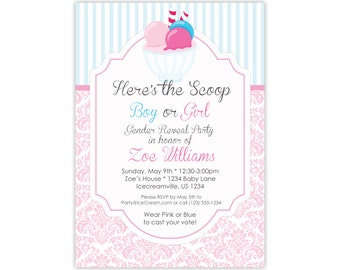 Personalized Ice Cream Invitation - Pink Damask Blue Stripes, Ice Cream Party, Gender Reveal Ice Cream Party Invite - Digital Printable File