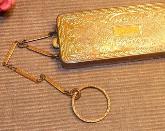 Antique Richard Hudnut DuBarry Compact with Chain and Dance Ring, Mirror, Powder,and Rouge