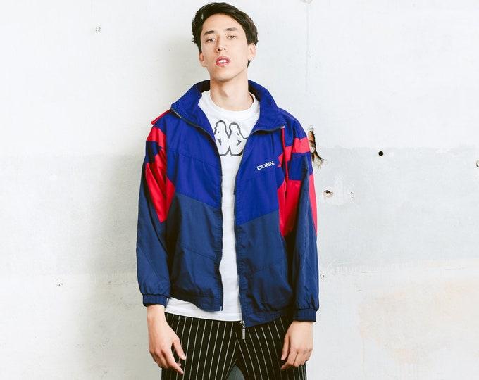90s Men Shell Jacket . Vintage Windbreaker Men's Unisex Shell Jacket Zip Up Sports Jacket Outerwear Activewear . size Medium M