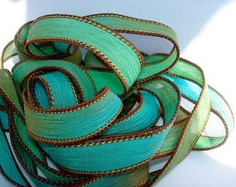 5PC. SAND & SEA 42 inch silk ribbon//Silk Wrist Wrap Ribbon// Silk Wrap Yoga Bracelet Ribbons//Silk Ribbons//By  LLC Ombre