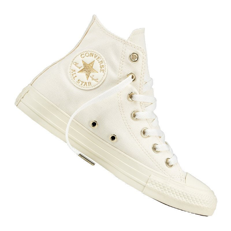 01d72fb2d Ivory White High Top Converse Wedding Light Gold Canvas w/ Swarovski Crystal  Bride Chuck Taylor Rhinestone Bling All Star Sneakers Shoes
