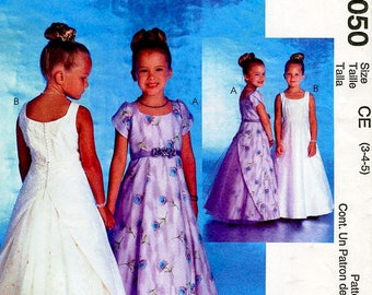 Sz 3/4/5 - McCall's Pattern 3050 - Girls' Lined Sleeveless or Cap Sleeves Dresses - Two Great Looks - Alicyn Exclusives