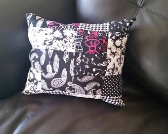 Pink and Black Quilted Patchwork Pillow
