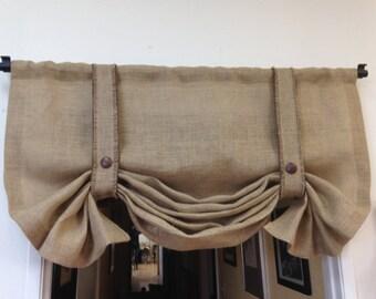 Burlap Valance, Shabby Chic curtains, Country Curtains, Bedroom Valance, Window Treatments, Chevron Valance, Rod Pocket Valance