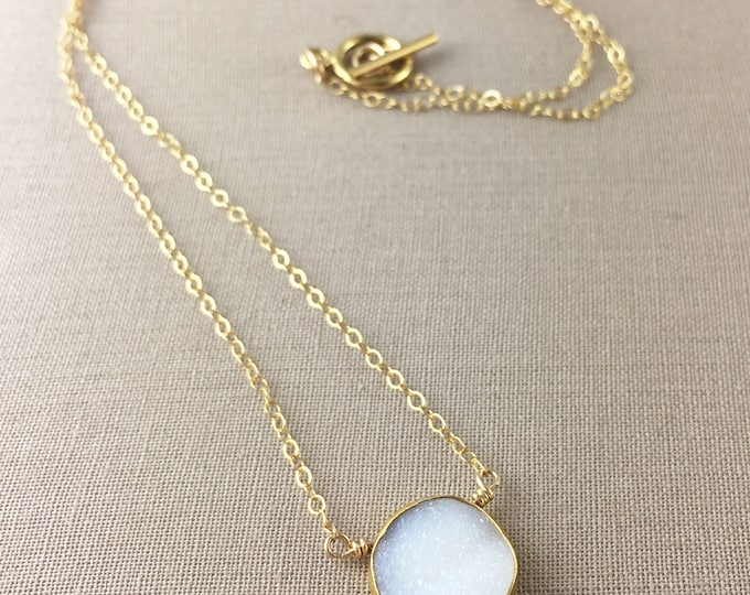 White Druzy Necklace // gold druzy necklace, white drusy, delicate necklace, bridesmaid necklace, jewelry under 35, everyday necklace