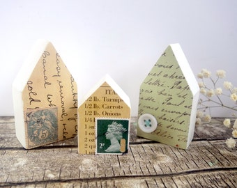 New home gift, 5th anniversary gift idea wood anniversary gift, miniature house, wood house ornament, original mixed media art vintage paper